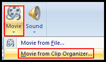 Insert Movie from clip organizer PowerPoint 2007