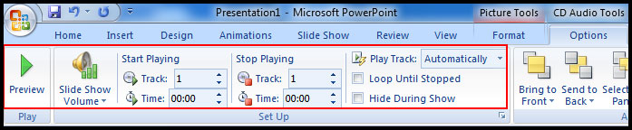CD Audion Tools option in PowerPoint 2007
