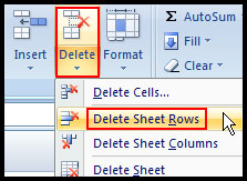 Delete selected rows in Excel 2007