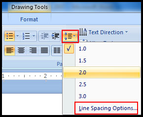 Use line spacing option in PowerPoint 2007