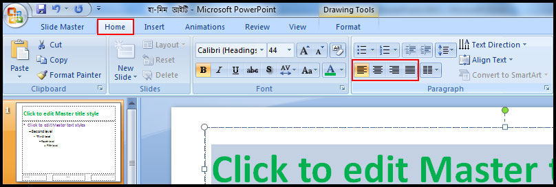 Change Font Alignment in PowerPoint 2007