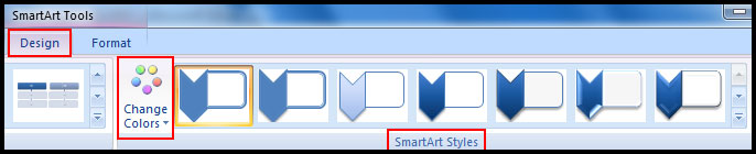 Change smartart graphic color in PowerPoint 2007