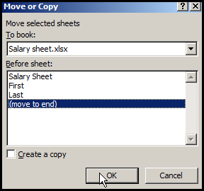 Move worksheet in Excel 2007