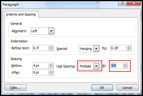 Type multiple line spacing in PowerPoint 2007