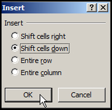 Insert cell down in Excel 2007