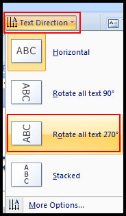 Change text direction in PowerPoint 2007