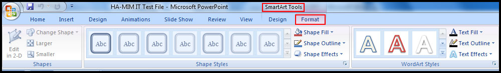 Format SmartArt graphic in PowerPoint 2007
