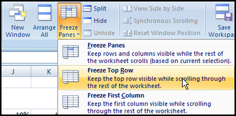 Freeze top row in Excel 2007