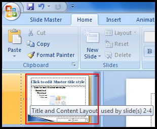 Insert Line on Title and content slide in PowerPoint 2007