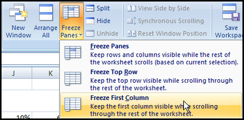 Freeze first column in Excel 2007