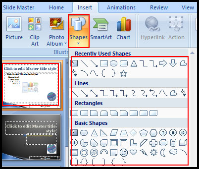 Select Shape for insert Line on all slide in PowerPoint 2007