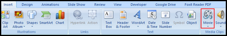 Insert Movie from computer in PowerPoint 2007