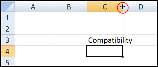 Resize Column width in Excel 2007