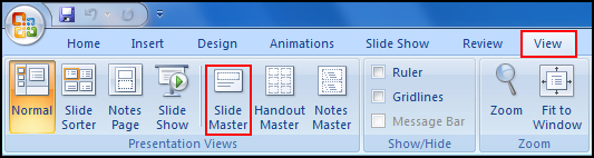 Show slide master in PowerPoint 2007