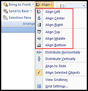 Six alignment option of PowerPoint 2007