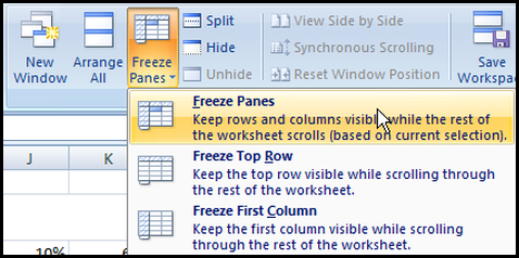 Freeze pane in Excel 2007