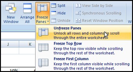 Unfreeze panes in Excel 2007
