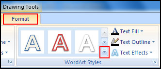 Apply More Word Art Style in PowerPoint 2007