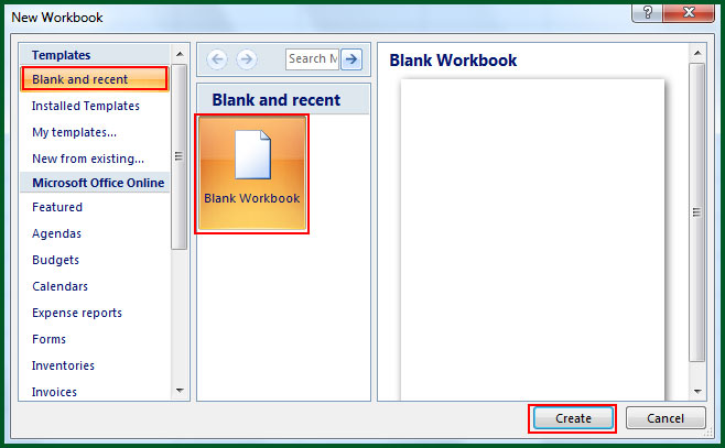 Create New Workbook in Excel 2007