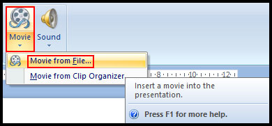 Insert Movie from file in PowerPoint 2007