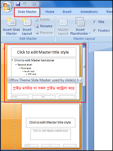 Conception of Slide Master in PowerPoint 2007