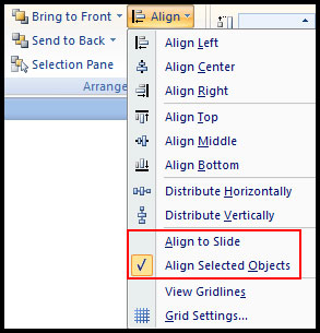 Select Alignment Option in PowerPoint 2007
