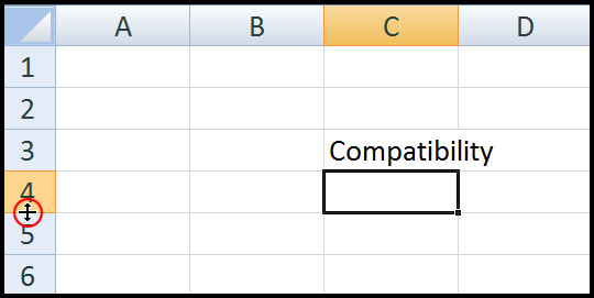 Change Row height in Excel 2007