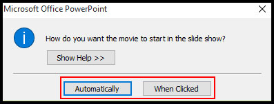 Select when movie start in PowerPoint 2007