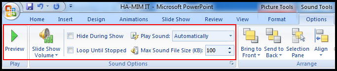 Various sound option in PowerPoint 2007
