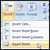 Insert sheet form menu command in Excel 2007