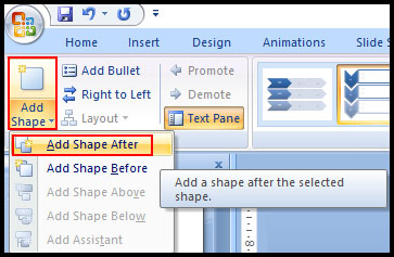 Add Shape in SmartArt Graphic in PowerPoint 2007