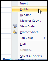 Delete Sheet from right click in Excel 2007