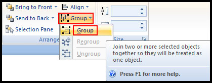 Group multiple object in PowerPoint 2007