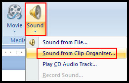 Insert form sound clip organizer in PowerPoint 2007