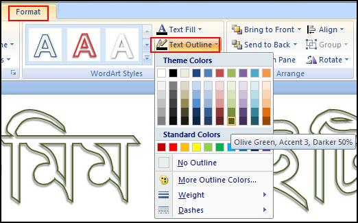 WordArt Text Outline in PowerPoint 2007