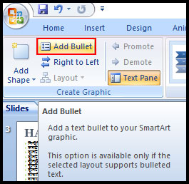 Add Bullet in selected shape in PowerPoint 2007