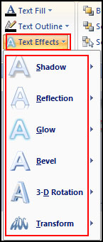 Apply Text Effect in PowerPoint 2007