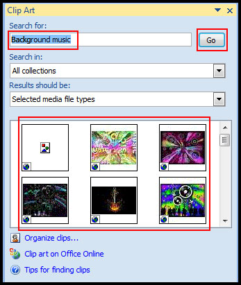 Search sound file from clip organizer in PowerPoint 2007