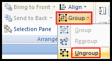 Ungroup object in PowerPoint 2007