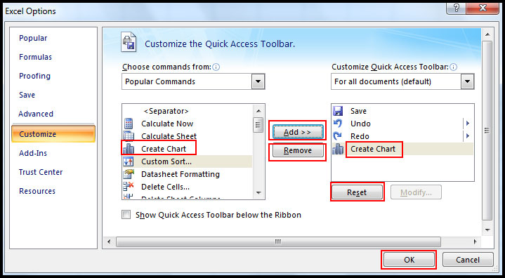 Add any command in Quick Access Toolbar in Excel 2007