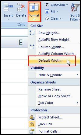 Change default width in Excel 2007