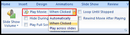 Select when movie started in PowerPoint 2007