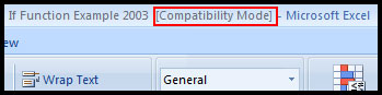 Compatibility mode in Excel 2007