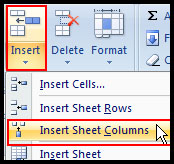 Insert Column in Excel 2007