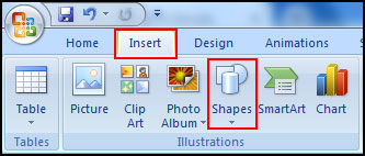 Insert Shape in Slide in PowerPoint 2007
