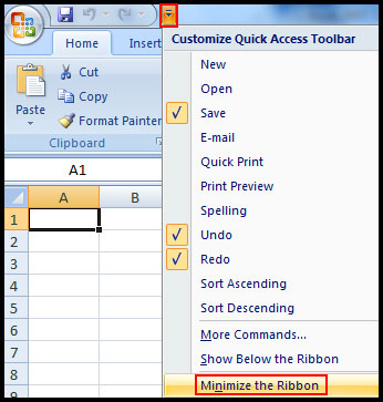 Minimize and Maximize the Ribbon in Excel 2007