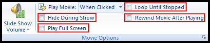 Various Movie Option in PowerPoint 2007