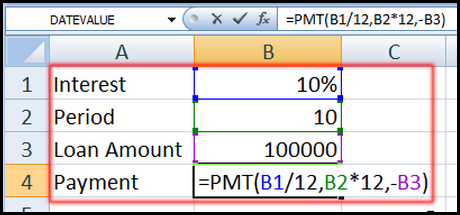 PMT Function for Scenario command in Excel 2007