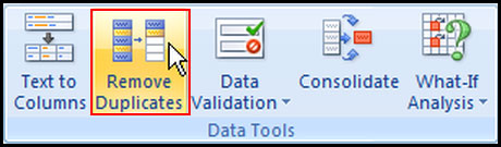 Remove duplicate data in Excel 2007