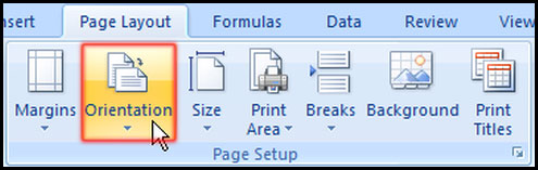 Change Orientation from Page Layout in Excel 2007